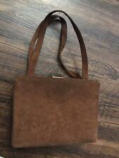Vintage Mam'selle Orginal New York Brown Suede Box Handbag Purse