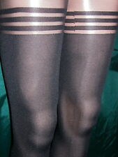 BLACK 100D OPAQUE GLOSSY TIGHTS WITH BANDED MOCK STOCKING TOPS - VERY PRETTY! BN