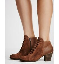 Free People Loveland Ankle Suede Leather Brown Boots Booties Size US 9 EUR 40