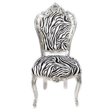 CHAIRS FRANCE BAROQUE STYLE DINING ROYAL CHAIR SILVER / ZEBRA #60ST5