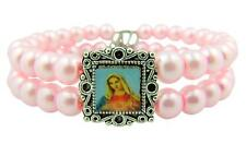 Silver Tone Immaculate Heart of Mary Pink Bead Wrap Bracelet, 7 1/4 Inch