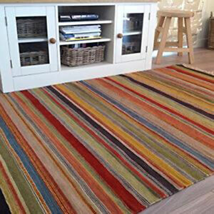 Wool Cotton Rug Hand Loomed Warm Multicolour Striped Kilim Various Sizes OOTY