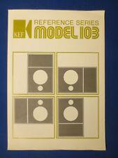 KEF Model 103 Speaker Sales Brochure Factory Original The Real Thing