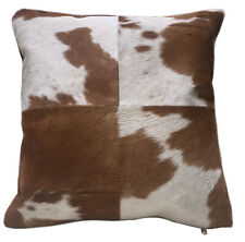 Brown & White Cowhide Pillow HEIFER. Double sided leather throw pillow.