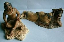 Pair of Hand Painted Clay American Indian Figures
