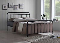 Oliver Vintage Metal Bed Frame In Black Or Ivory 4FT Small Double