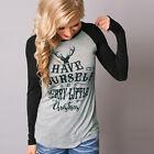 donna maniche lunghe T-Shirt Girocollo Casual Larga Maglia maglione felpa