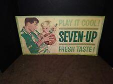 RARE VINTAGE 1961 CARDBOARD 7 UP SEVEN UP SODA ADVERTISING SIGN 21 X 11