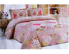 Patchwork Acolchado Colcha cama set bordado Tirar Funda Doble King Size