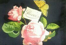 NIB Beautiful GUCCI ROSE scarf 100% SILK ITALY foulard RARE BLACK rosa new box