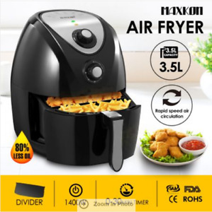 4.4L Turbo Air Fryer 80% Oil less with Recipes Cooker - Black 1400W 6KG 80-200℃