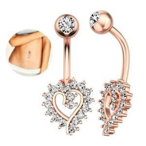 New Heart Design Belly Bar Piercing Crystal Navel Ring 316L Surgical Steel UK