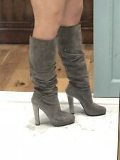 Ralph Lauren Collection Grey Suede High Boots Super Sexy Size 7 US RRP £1500