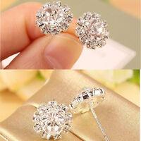 Newest Charming Women Lady Crystal Rhinestone Silver Ear Stud Earrings Jewelry