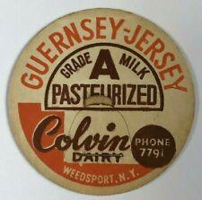 Colvin Dairy Guernsey Jersey Vintage Milk Bottle Cap Weedsport NY New York