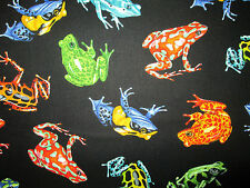 FROG JUNGLE FROGS REALISTIC BLACK COTTON FABRIC FQ
