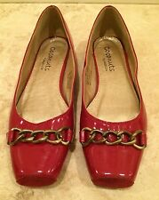 COCONUTS Red Patent Leather Ballet Flats Gold Chain Slip On Woman's 6.5 M NEW!
