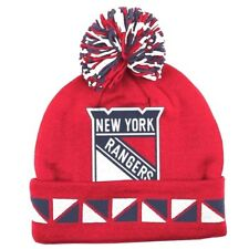 0de33241e7a00e NEW YORK RANGERS KNIT BEANIE HAT SKI CAP NHL CUFFED MITCHELL & NESS 2 FACE  NWT
