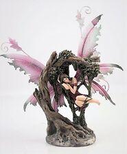 Magenta Pink Fairy Sleeping in Tree Figurine Metal Wings  - Legends of Avalon