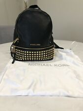 362a26c9916f4 MICHAEL MICHAEL KORS RHEA ZIP SMALL STUDDED BACKPACK - BLACK WITH GOLD  HARDWARE