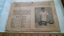 1941 Housewife's Calendar antique vintage old home front cookbook