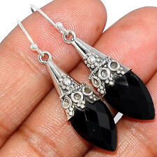 Faceted Black Onyx - Brazil 925 Sterling Silver Earrings Jewelry AE170100 224A