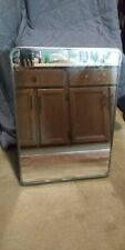 Vintage Recessed Metal Medicine Cabinet with Mirror and Original Glass Shelves