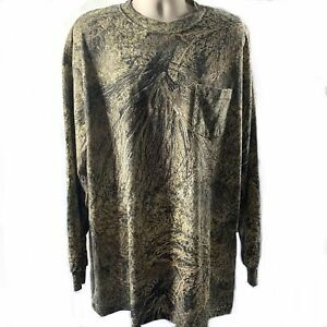Mossy Oak Camouflage Crew Neck T Shirt Sz 3X Long Sleeve Pullover Brown Camo