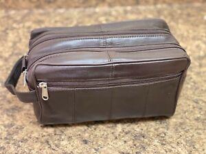 Brown Leather Shaving Kit Dopp Kit Overnight Toiletry Bag Travel Case New