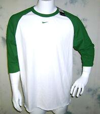 VTG NOS NIKE Original Raglan 3/4 Sleeve Swoosh T Shirt Tee Sz LARGE White/Green
