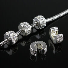 10PCS New Clear Czech Crystal Silver European Charm Beads Locks Clip Stoppers