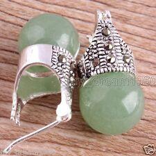 Vintage Marcasite 12mm Green Jade Round Beads 925 Sterling Silver Stud Earrings