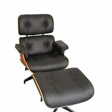 Lounge Chair and Ottoman  Black Real Leather Rosewood Black Parts