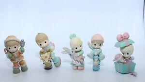 1995 Enesco Precious Moments Mini Christmas Ornament Figurine Lot of 5 (Broken)