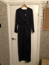 Missguided Navy Wrap Front Maxi Dress / Evening Gown - UK 14 Brand New With Tags