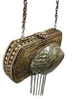 Big MOP clutch metal purse Hand clutch Crystal Clutch stone bag rusty gold bags