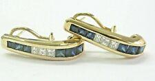 "Natural Sapphire & Diamond Yellow Gold LONG Huggie Earrings 1.25"" 14KT 3.80CT"