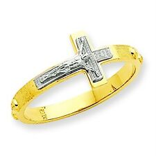 14K Yellow & White Gold Polished Solid Sideway Crucifix Cross Rosary Ring Size 6