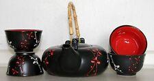 Black Ceramic Chinese Blossom Sprig Pattern Tea set