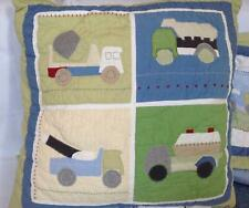Pottery Barn Kids Christopher Construction quilted euro pillow sham trucks blue