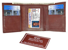 Burgundy RFID Security Safe Block MEN's Leather ID Plain TRIFOLD ID Card WALLET