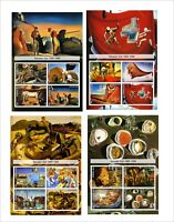 2011 SALVADOR DALI PAINTINGS ART 8  SOUVENIR SHEETS MNH UNPERFORATED
