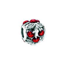 Genuine Pandora Sterling Silver Sweet Cherries Glossy Red Charm 791900EN73
