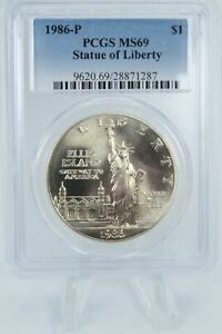 1986-S PCGS MS69 Statue of Liberty Silver Dollar Business Strike $1