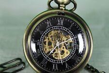 Bronze Hollow Mechanical Pocket Watch Hand-Winding Men/Women's time piece New