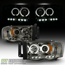2002-05 Dodge Ram 1500 03-05 Ram 2500 3500 Smoked Halo Projector LED Headlights