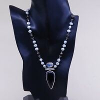 "16"" Handmade Sterling 925 Silver pearl Necklace W/ Obsidian Moonstone Pendant"