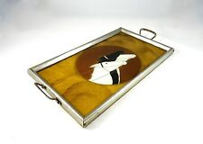 SEHR SELTENES ART DECO SERVIER TABLETT 1930 BAR PFERDE REITSPORT LITHO CHROM