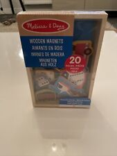 NEW Melissa & Doug 20 Wooden Magnets Set In Box Transport Vehicles