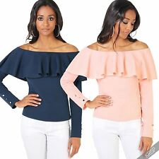 Polyester Waist Length Boat Neck Tops & Shirts for Women